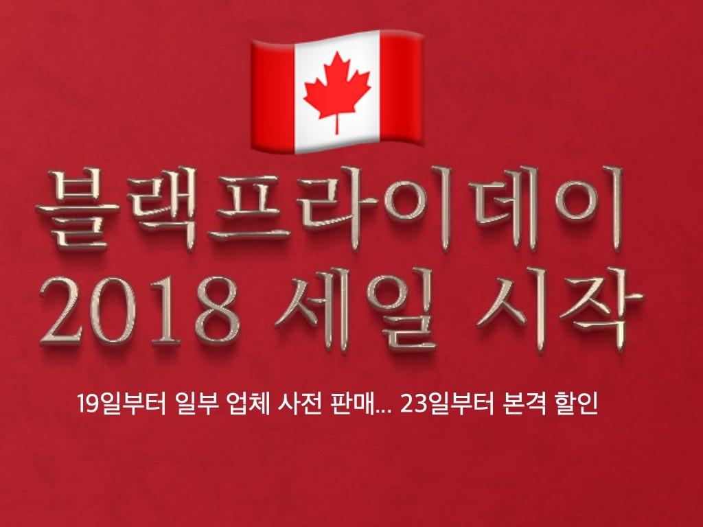 캐나다 업체들, 19일부터 블랙프라이 데이 세일 시작 bfsale