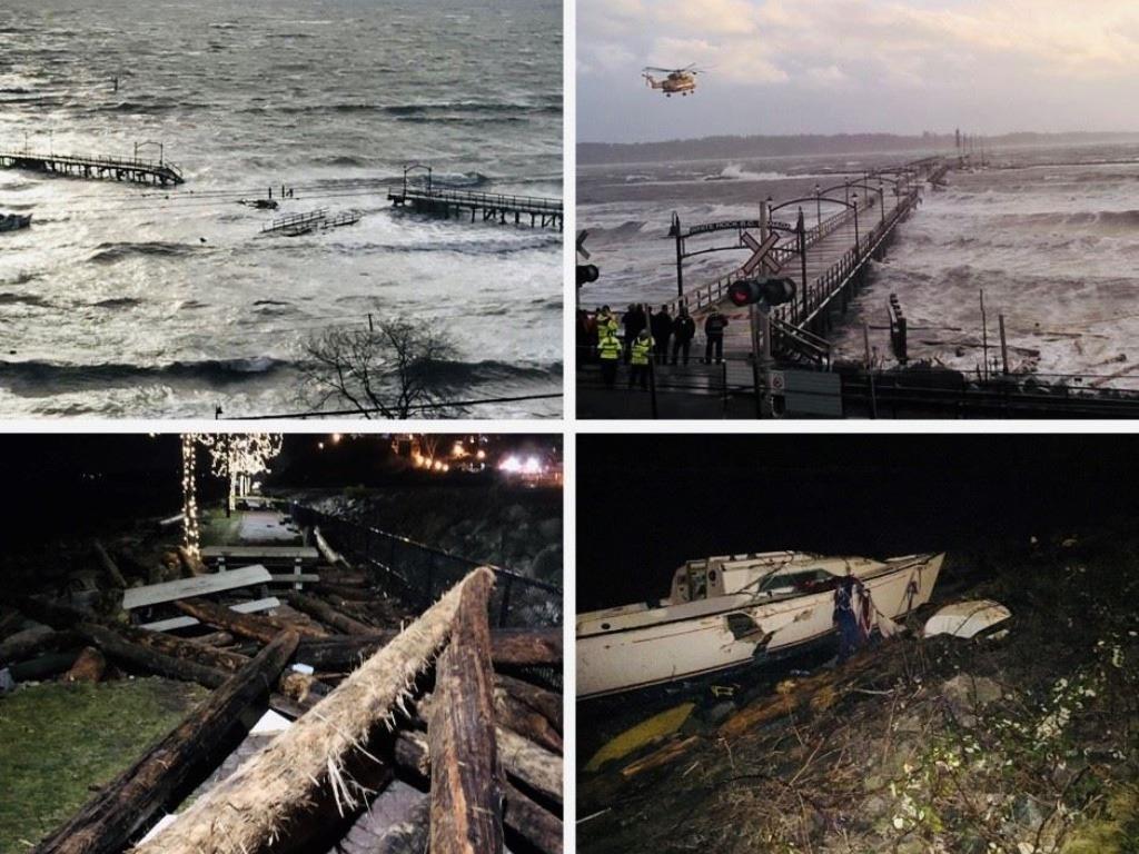 와이트락 폭풍우로 부두 파괴돼… 해변 출입 금지 whiterock