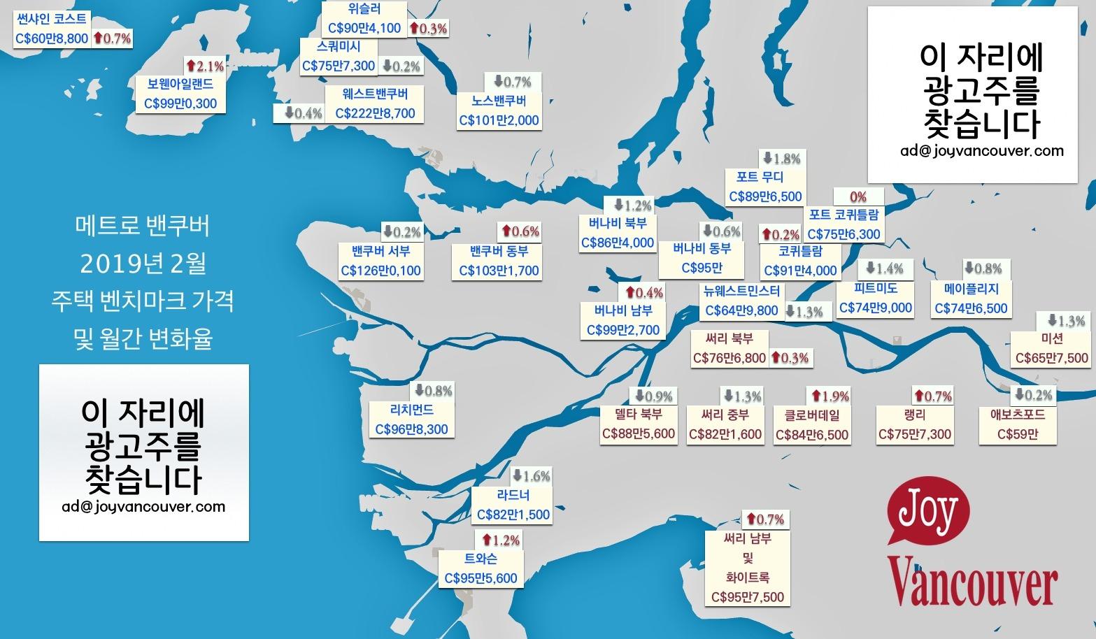 밴쿠버 부동산 2월 거래량, 지난해 ⅔ 수준 MetroVancouver 부동산 2019 02