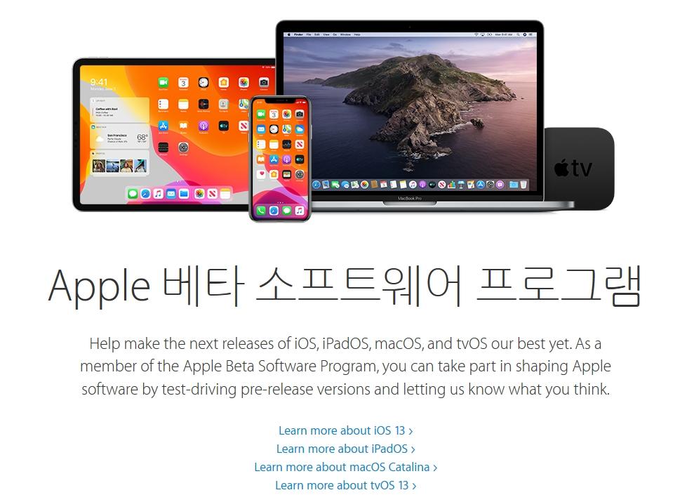 Apple, iOS 13, iPadOS, macOS, tvOS 퍼블릭 베타 릴리즈 App01