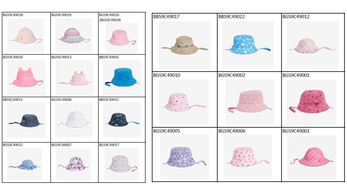 리콜 대상 유아용 모자