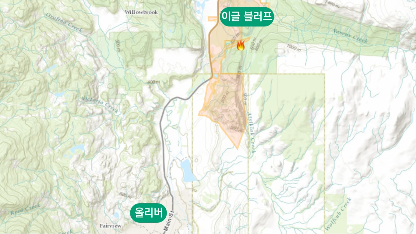 이글 블러프 화재 지도