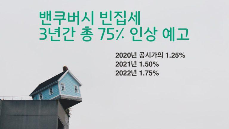 밴쿠버, 빈집세 세율 매년 0.25%포인트 인상