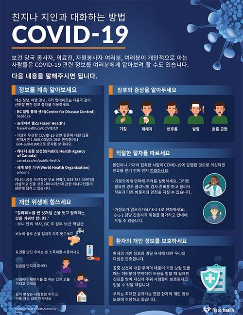 한인 보건청장, 코로나19 확산에 적극적 대응 호소 성명 T70556Korean 9 How to talk to your