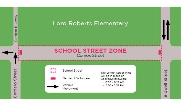 밴쿠버시, 일정 시간대에 학교 주변 차없는 거리 시험 lord roberts elementary school street zone