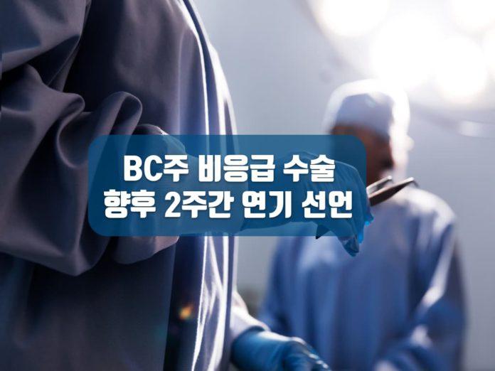비응급수술 취소 및 연기