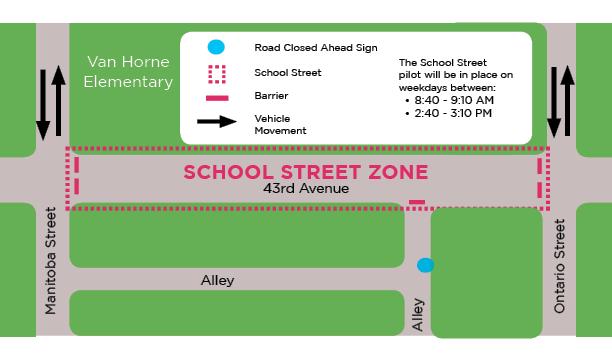 밴쿠버시, 일정 시간대에 학교 주변 차없는 거리 시험 van horne elementary school street zone